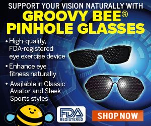 This image has an empty alt attribute; its file name is Groovy-Bee-Pinhole-Glasses-MR.jpg