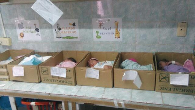 Venezuelan hospital keeping newborn babies in cardboard boxes