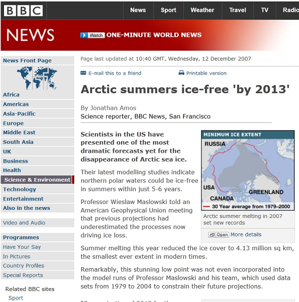Global warming computer models collapse BBC ice free summer 2013