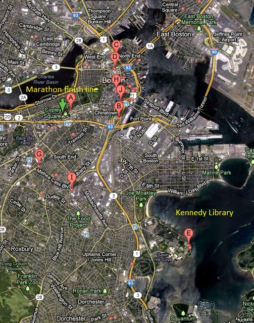 Official story unraveling for Boston marathon bombing Boston marathon bombing map