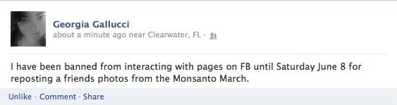 Facebook censors pictures of children rallying against GMOs during global March Against Monsanto Facebook censorship Georgia gallucci
