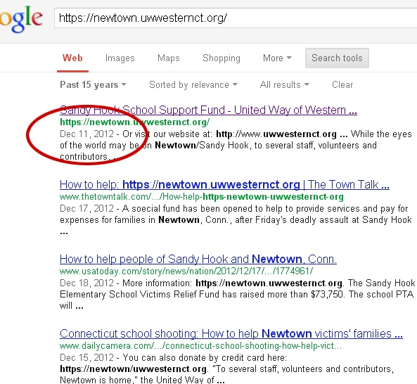 Sandy Hook fundraising relief page created 3 days before shooting, Google search results confirm Screenshot Google Search Results Sandy Hook Dec 11 2012
