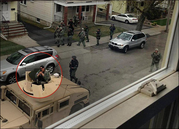 Militarized police gone wild across America; terrorizing citizens, shooting pet dogs Boston Martial Law Turret