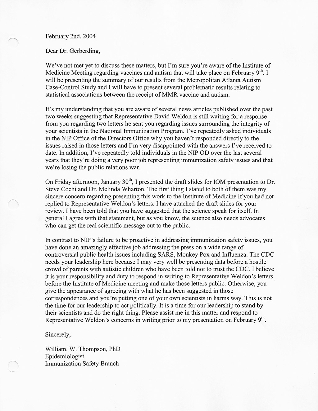 cdc whistleblower s secret letter to gerberding released by click this image thumbnail to view the full letter for yourself