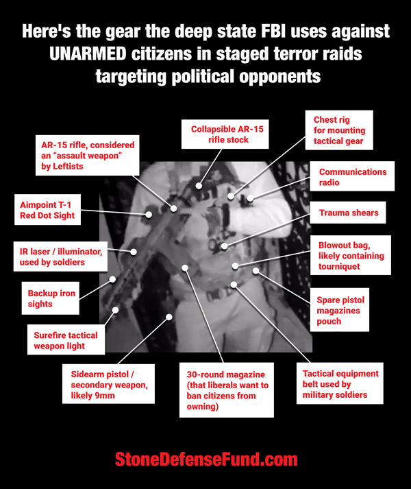 Infographic-Deep-State-FBI-Raid-Gear-600 See the deadly weapons used by the FBI to conduct armed raid on Roger Stone 30-round magazines americans anti-gun zealots citizens fbi fbi agents fbi gestapo gestapo gun gun control infographic roger roger stone roger stone's home staged stone stone's home tyranny unable to defend weapons [your]NEWS