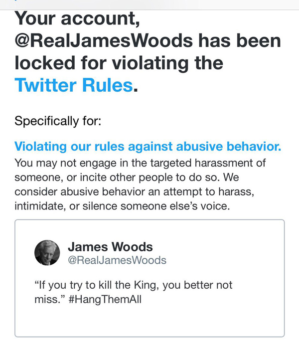 Two months after de-platforming the Health Ranger, Twitter bans James Woods for exposing the treason of the deep state coup against Trump