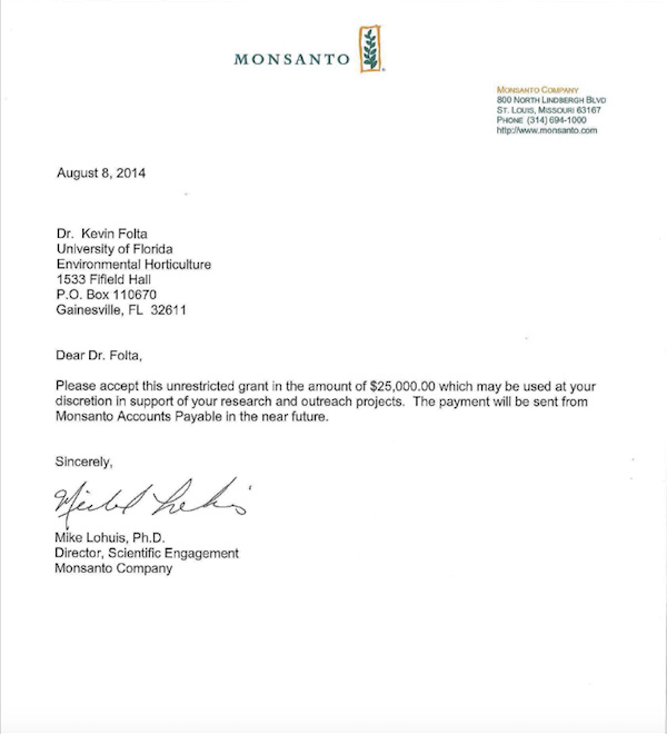 Monsanto Money Letter To Kevin Folta Emerges Discredited