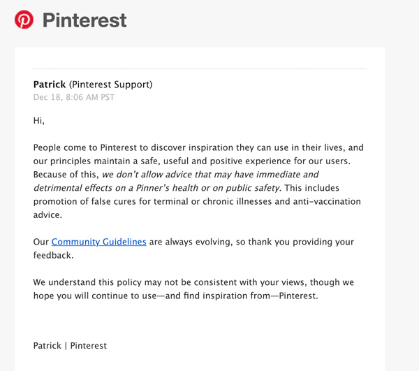 Pinterest is BANNING Health Sites and Those Questioning Vaccine Safety Pinterest-Guidelines-Letter-600