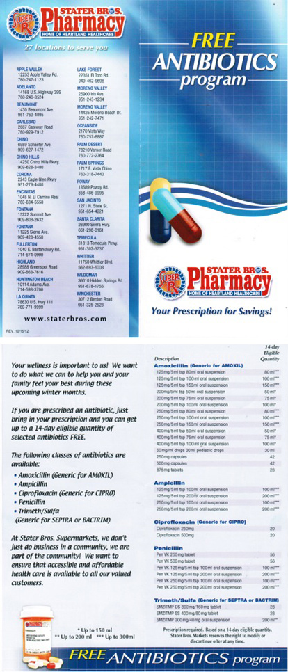 California pharmacy floods population with free antibiotics, promoting deadly superbugs and environmental pollution Stater Bros Brochure 414