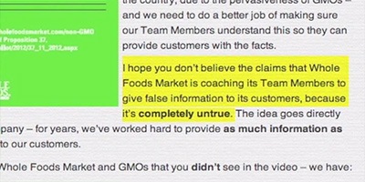 Whole Foods Market whistleblower says employees were deliberately trained to lie about GMOs   new Organic Spies video The Organic Fraud Machine False Information Completely Untrue