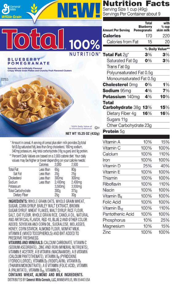 total blueberry pomegranate cereal from general mills contains no