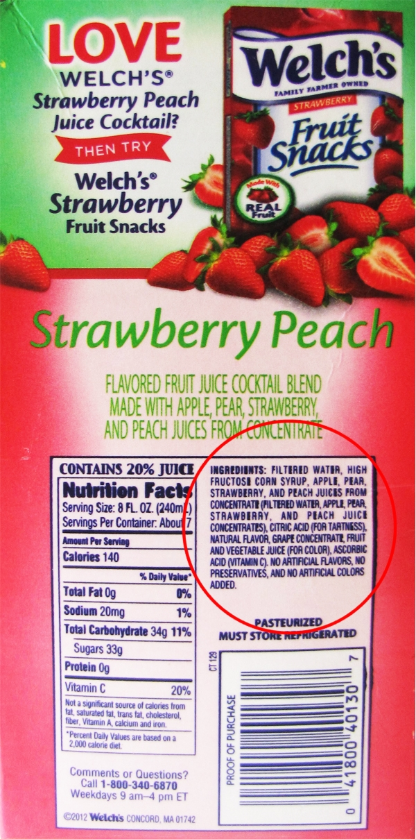 Food investigations: Welchs fruit juice cocktails contain more corn than fruit: 80% water and high fructose corn syrup Welches juice high fructose corn syrup 1