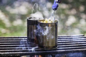 Soup-Being-Heated-Over-Campfire-Spoon-Lifting-Noodles-Can-300x200