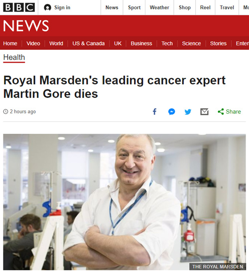 "Vaccine shot killed famed cancer doctor in mere minutes from ""total organ failure"" BBCNews-Martin-Gore-Dies-500"