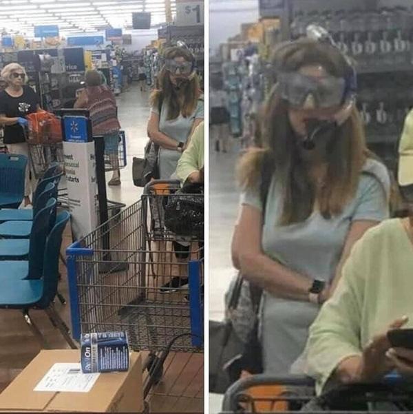 Sátira muito necessária: quando o Walmart exigia que os clientes usassem máscaras, eles não tinham idéia de que isso iria acontecer ... 19