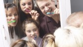 Family-Children-Brush-Teeth-Mirror