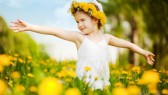 Child-Flower-Girl-Dress-Play-Happy-Field