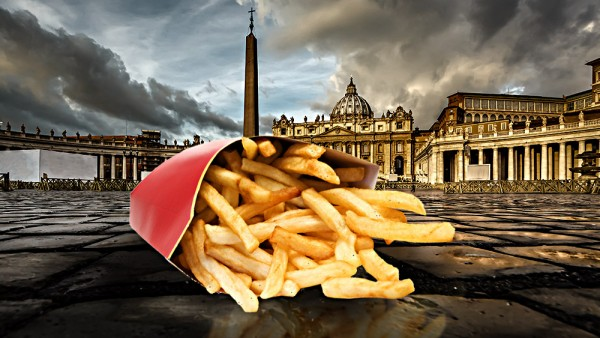 Image: Processed fries with the Gospel? McDonald's now stationed in the Vatican