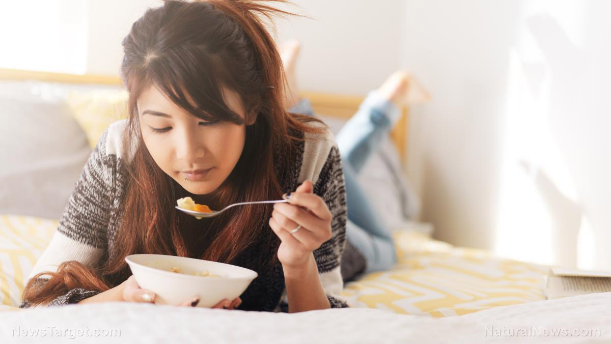 Woman-Asian-Teenager-Eating-Food-Soup-Be