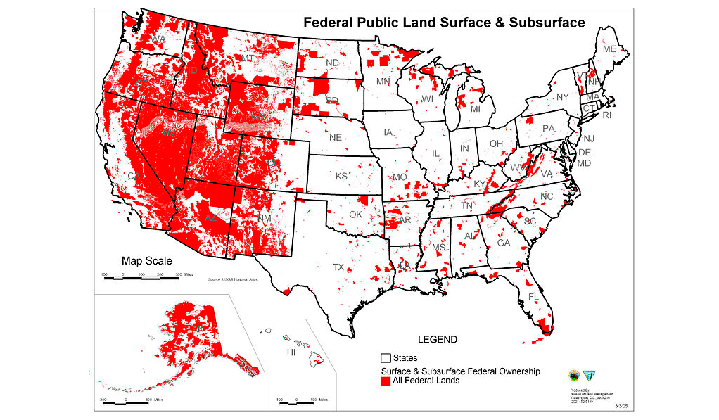 Image: This shocking map illustrates how much land the Federal Government really owns