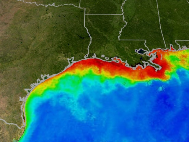 Image: Largest oceanic dead zone ever measured is in the Gulf of Mexico; scientists conclude pollution caused by industrial agriculture