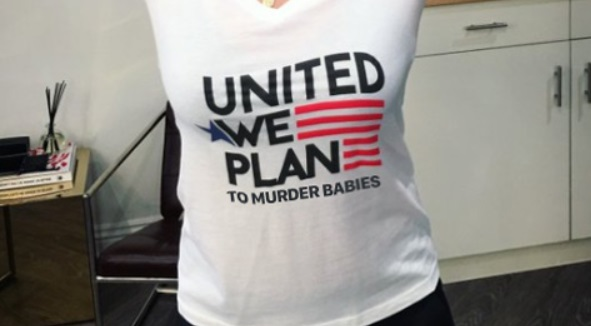 Image: Clueless celebrities tout sickening Planned Parenthood T-shirts celebrating abortion: United we Plan (to murder babies)