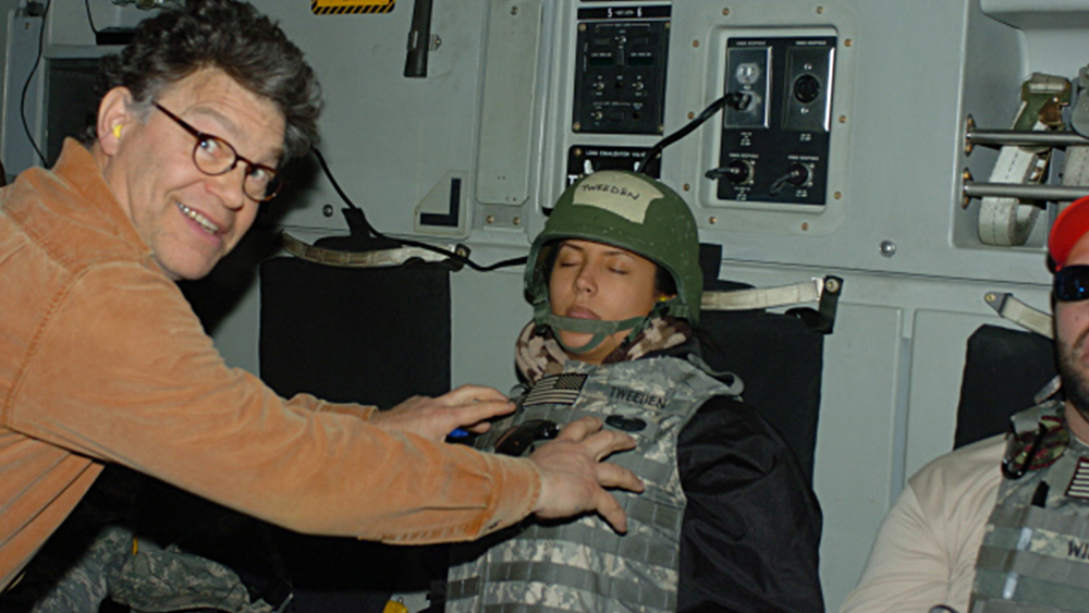 Image: Sen. Al Franken exposed as sex predator who groped unconscious woman while proudly smiling for sick photo