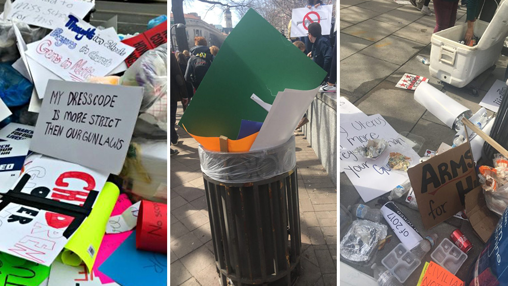Image: Weekend anti-gun protests in D.C., like previous Left-wing demonstrations, generate tons of trash for others to clean up