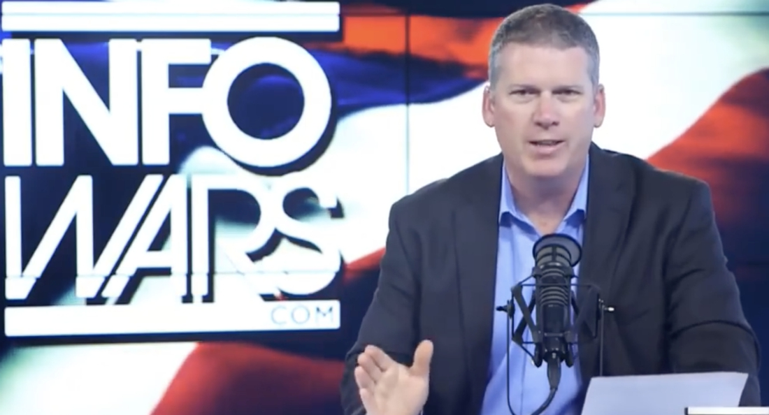 "Image: Health Ranger Mike Adams fills in for Alex Jones to warn about the ""online ethnic cleansing"" happening now"