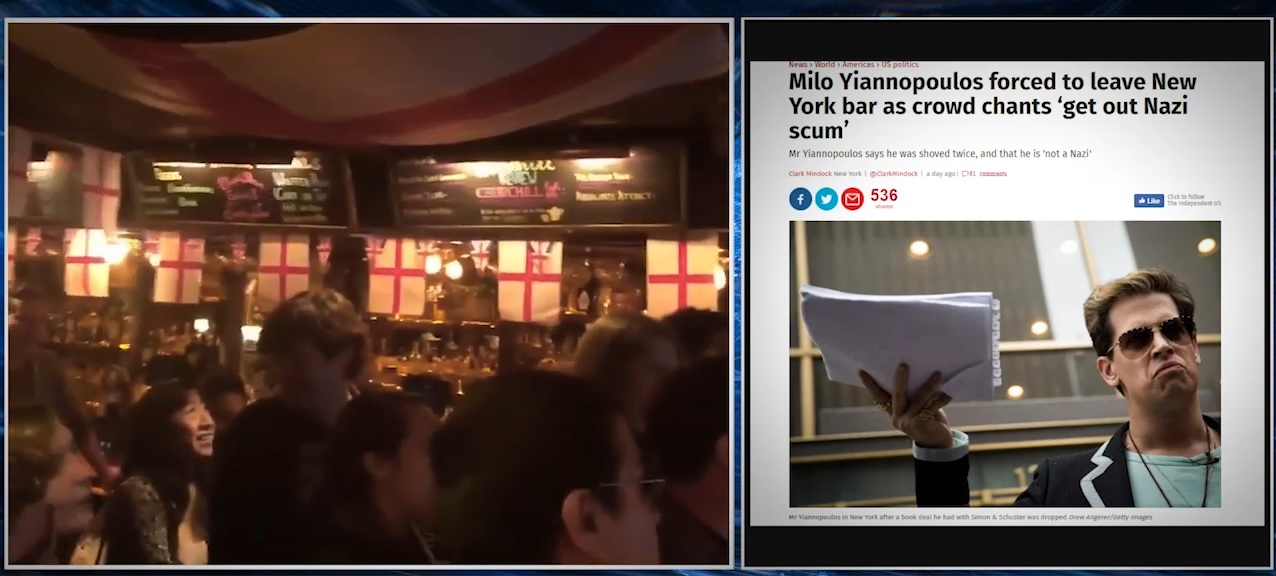 "Image: See the ""tolerance"" of the deranged Left on display as they chant ""Nazi scum"" in a public bar"