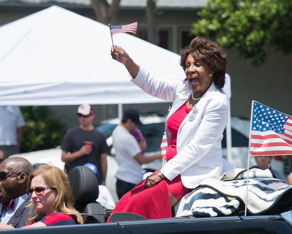 "Image: Maxine Waters supporters burn the America flag while chanting ""black power"""