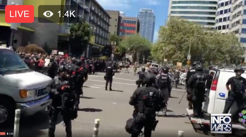Image: Violent Antifa demonstrators vastly out-numbered by peaceful pro-liberty groups at Portland protests