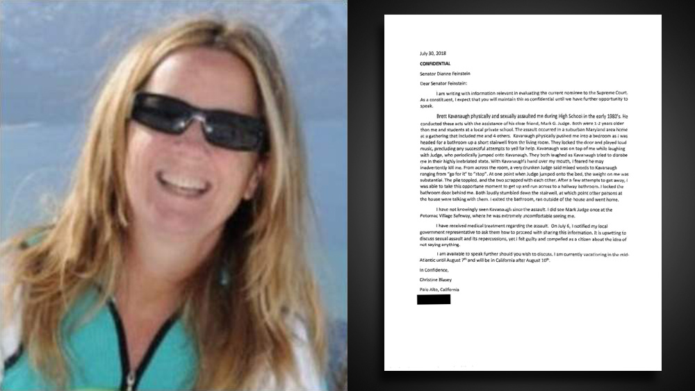 Image: BOMBSHELL: Christine Blasey Ford's letter to Sen. Dianne Feinstein revealed to be a total FAKE… contains 14 glaring errors that could only be committed by a poorly educated writer