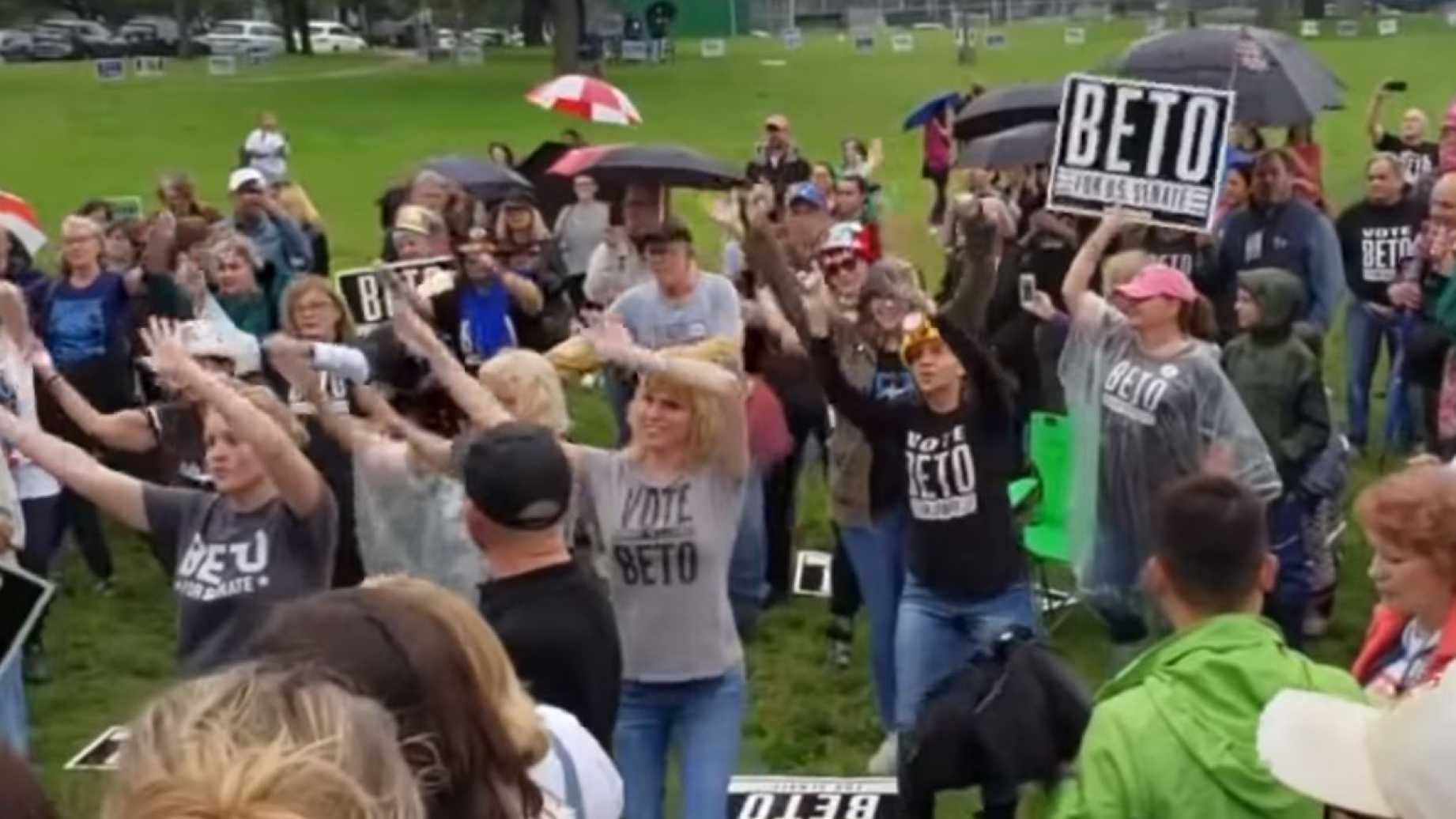 "Image: Video showing ""flash"" mob for Beto O'Rourke features cringe-worthy liberals singing voiceover of Village People hit ""YMCA"""
