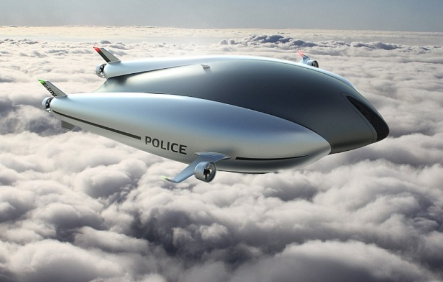 Image: Unmanned airship fitted with a surveillance camera can spy on people from above