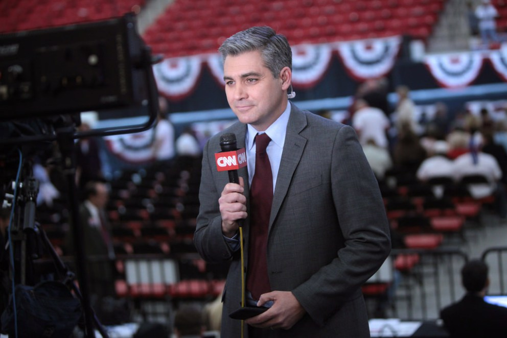 "Media unabashedly pushing grossly fake news to cover for CNN reporter Jim Acosta after he lost his press credentials for ""putting hands"" on White House intern"