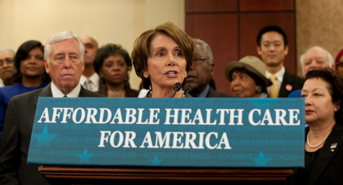 "Image: Speaker-to-be Nancy Pelosi cheers disease, saying, ""Let's hear it for more pre-existing medical conditions!"""