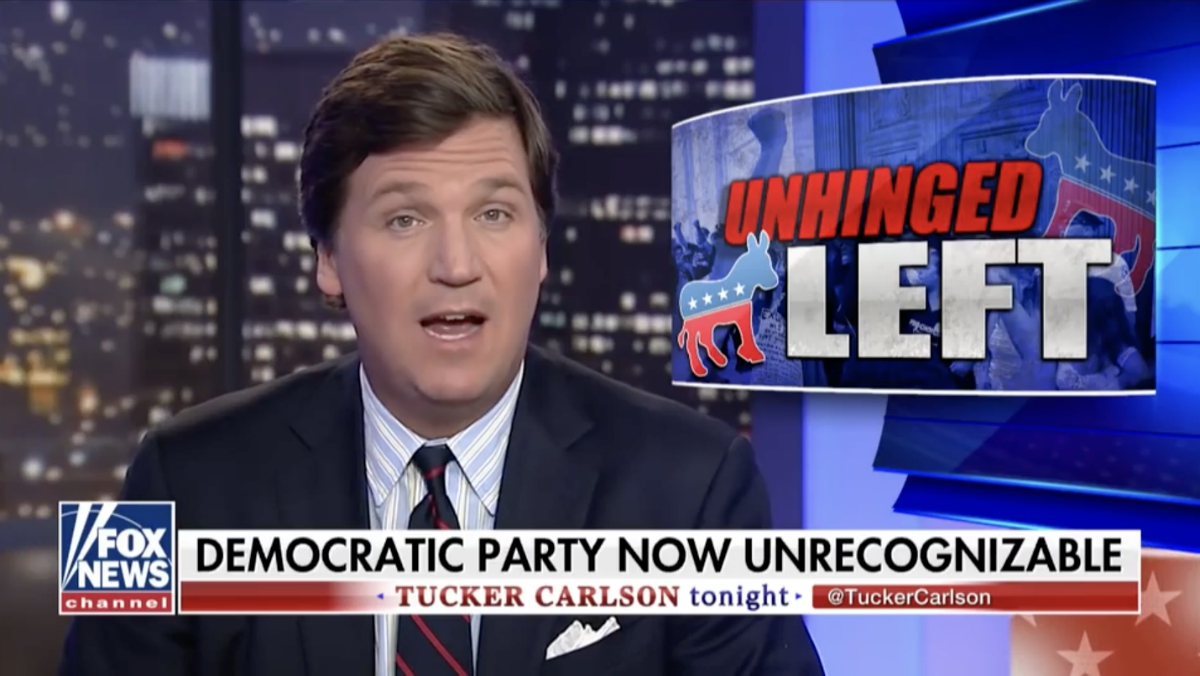Image: Antifa thugs crack the door on Tucker Carlson's home as Fox News host says Left-wing extremism out of control