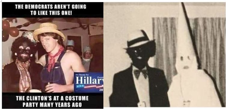 "Image: HYPOCRITE Hillary Clinton condemns VA governor Ralph ""Coon-Man"" Northam for racism and infanticide, but she supports Planned Parenthood, KKK, and wore ""BlackFace"" herself"