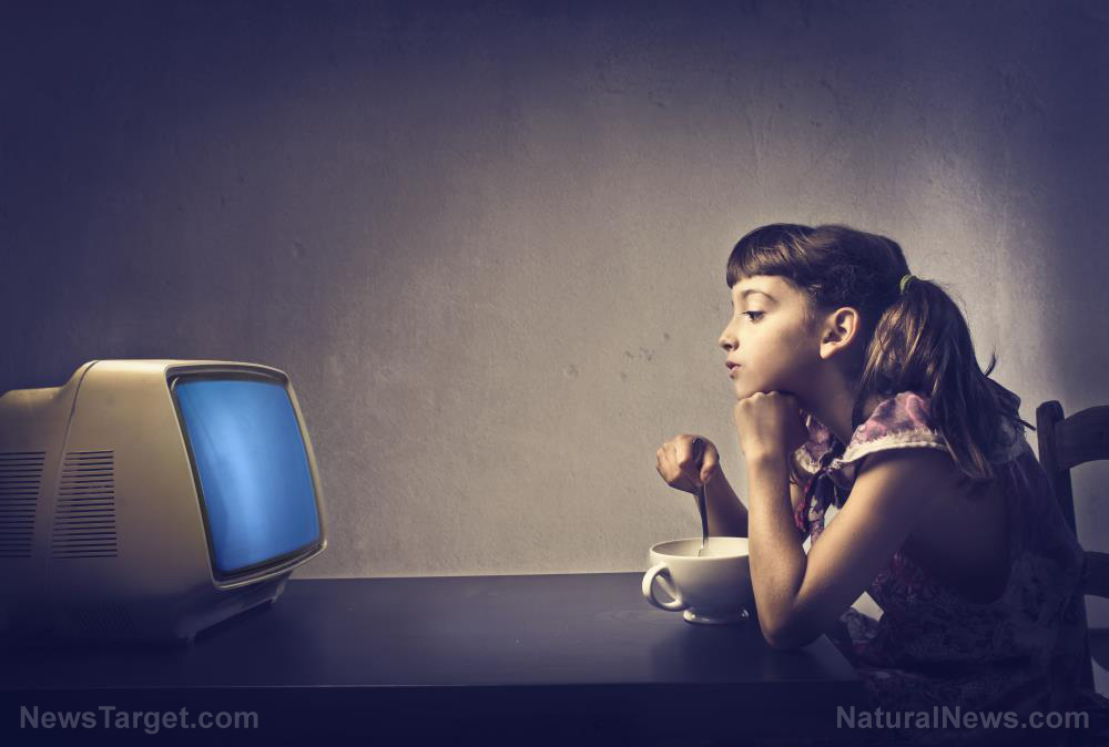 Image: Entertained and sedentary: Children have a higher risk of becoming OBESE if they have a TV in their bedroom