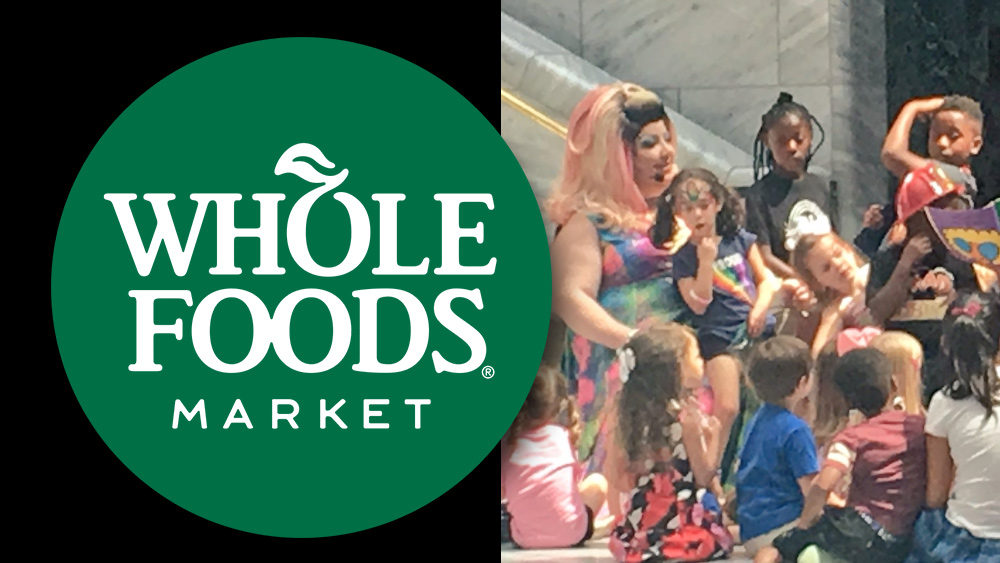 "Image: Whole Foods now sponsoring perverted, pedo-linked ""Drag Queen Story Hour"" to indoctrinate children into the transgender pedo culture"