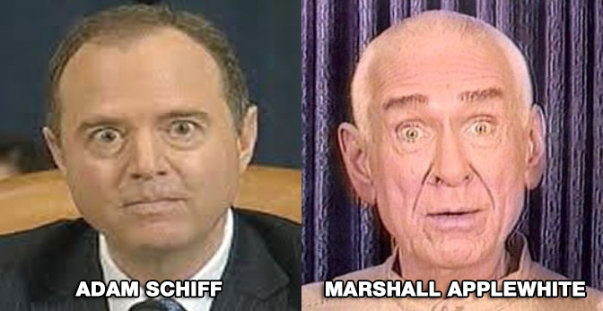Image: Adam Schiff leads cult-like Democrats to their own mass suicide, following in the footsteps of Marshall Applewhite, founder of California's Heaven's Gate cult