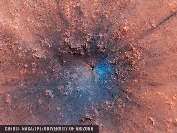 Image: NASA's Mars orbiter takes a breathtaking photo of a 50-foot crater; impact could have occurred between 2016 to 2019, say experts