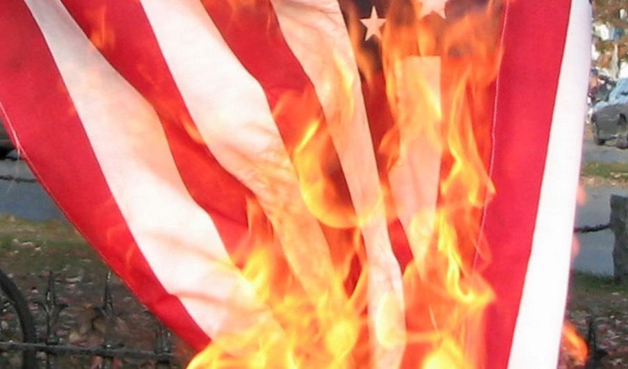 Image: Arsonists target California homes flying American flags