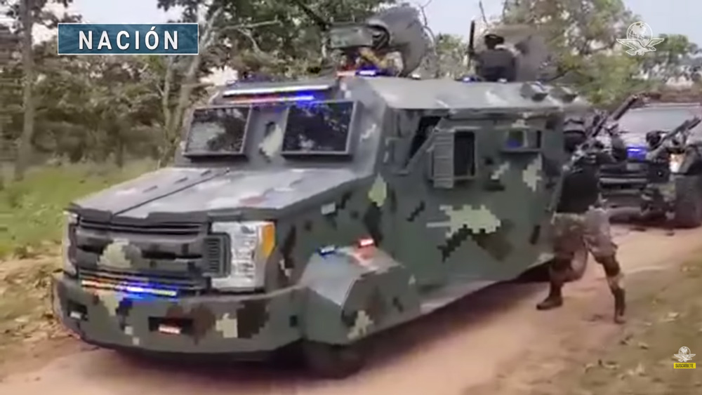 Image: Mexican cartel engages in shocking show of force involving military-clad, armed personnel driving convoy of up-armored vehicles