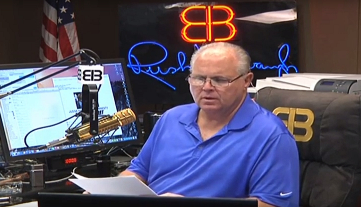 Image: Rush Limbaugh says conventional cancer treatments FAILED, stage 4 cancer went terminal