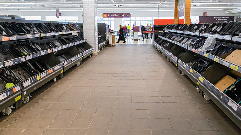 "Image: ""Firebreak"" lockdown in Wales sees non-essential items covered in grocery stores"