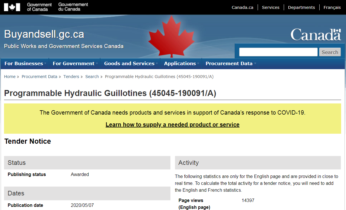 "Image: Canadian government publishes bid request for ""Programmable Hydraulic Guillotines"" needed ""in support of Canada's response to COVID-19"""