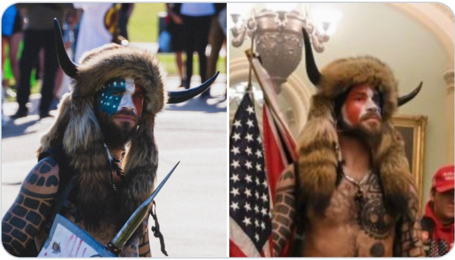 "Image: FALSE FLAG CONFIRMED: ""Viking"" who stormed the Capitol Building previously photographed at BLM rally wearing the same outfit"