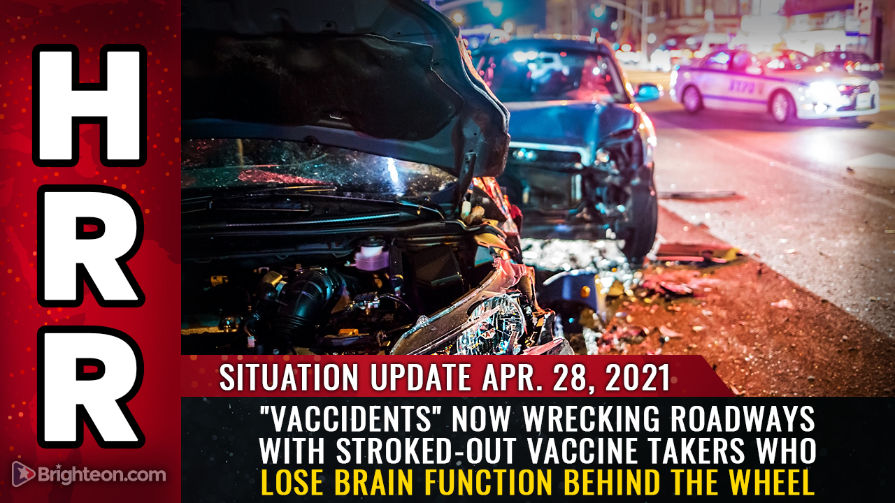"""Image: """"Vaccidents"""" now wrecking roadways with stroked-out vaccine takers who lose brain function behind the wheel"""